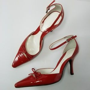 Gianni Bini Red Leather Ankle Strap d'Orsay Pump 8